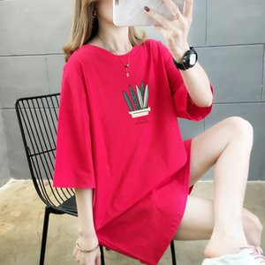 Large Size Cotton Long Tops Tee Shirt For Women 2020 Summer Casual Loose Short Sleeve T-shirt Oversized Plant Print Daily Tshirt LJ200820