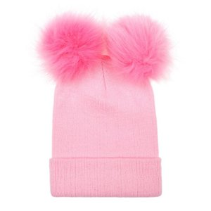 Women Solid Faux Fur Beanies Hat Soft Warm Autumn Winter Double Ball Pompom Girl Knitting