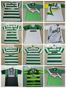 Celtic # 7 Larsson 2000 2002 Retro Jerseys de futebol 85 86 06 08 91/92 Camisas de futebol vintage longe verde Gillespie Cascarino Thai Qualtiy