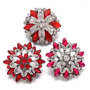 Bracelets de charme 6pcs / lot Snap bijoux rouges strass 18mm boutons de fleurs convient aux femmes interchangeables bijoux1