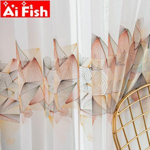 AiFish Nordic window screen voile curtain white mesh tulle with geometric embroidery rope pattern living room curtains MY448D