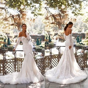Chic Off Shoulder Mermaid Wedding Dresses 2021 Full Sleeves Lace Appliques Boho Bridal Gowns Backless Sweep Train Vestidos De Novia AL8675