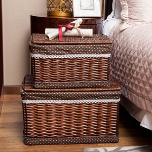 Laundry Basket Handmade Wicker With a lid Dotted Cloth Large Capacity Brown Sundry Clothes Books Storage Basket Indoor Furnitur LJ201204