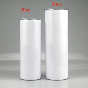 Sublimación de bricolaje 20 oz 30 oz Vaso recto Capacidad grande Capacidad Portátil Placer Tumblers Doble Pared Sublimaciones Recubrimiento Para Transferencia de Calor Taza