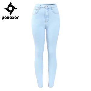 2182 Youaxon Brand New Arrival High Waist Jeans Woman Stretchy Women`s Jeans OL Ladies Pencil Denim Pants Femme 201014