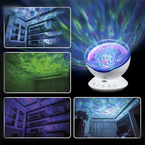 Ocean Wave Projector Light Led Night Lamp Music Player Remote Control USB Starry Projection Living Bedroom Party Decor Gifts DHL Free