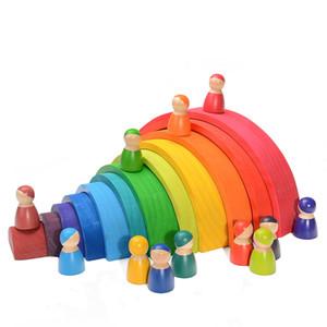 어린이 크리 에이 티브 어린이를위한 장난감 대형 교육 블록 베이비 몬테소리 빌딩 크기 레인보우 스태커 나무 장난감