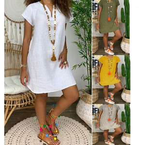Plus Size Summer 2020 Cotton Linen Mini Dress Women V-Neck Party Dress Elegant Casual Short Sleeve Womens Sun Dresses Vestidos1