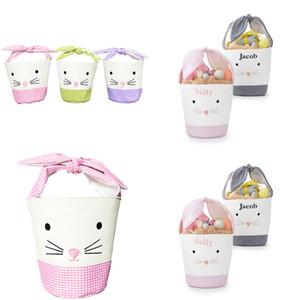 Pâques Buggy Bag Banket Bownot Bunny Bunny Sacs Dessin animé Rabbit Oreille Toile Sac à fourre-tout Nouvel An des Cadeaux d'oeufs d'œufs de bonbons Bucket Sac à main E120906