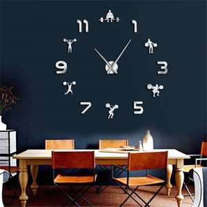 Weightlifting Fitness DIY Giant Clock GYM Wall Sticker Watch 3D Luxury Wall Clock Creative Wall Art Decor For GYM Y200110