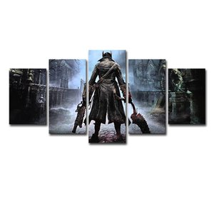 Modular Canvas Wall Art Abstract Pictures Home Decor 3 Pieces Bloodborne Paintings HD Printed Game Hunter Posters Frame PENGD