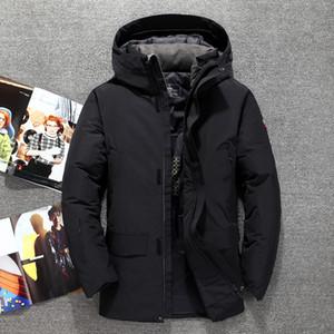 Марка Мужской зимние пальто Синий Army Black с капюшоном ветрозащитный Держите Теплые мужские куртки вниз небрежным паркам -20 Degree