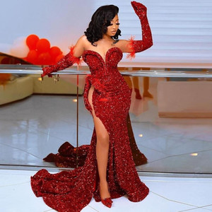Red Sequined Prom Dresses Sweetheart Sequins High Side Split Black Girls Women Evening Dress With Detachable Sleeves no gloves Vestidos