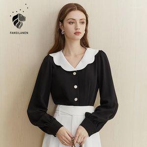 Fansilanen Patchwork Sexy Black Vintage Blouse Рубашка Женщины с длинным рукавом Элегантная Белая Рубашка Топ Женский Офис Леди Повседневная Блузка1