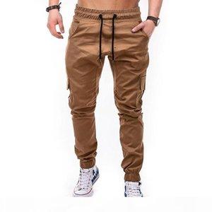 2019 gym new fashion Personality multi-pocket men's trousers woven fabrics plain color jogging trousers Gym Pants