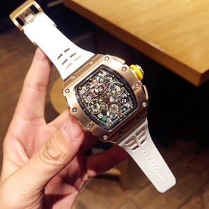 Men's watch, stainless steel case, high tempered glass mirror, butterfly clasp, automatic mechanical movement, rubber strap.