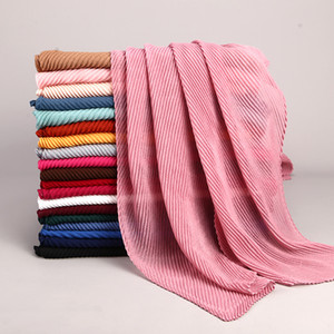 New Fashion Twill Turban Cotton And Linen Wrinkled Scarf For Ladies Pure Color Turban 27 Colors