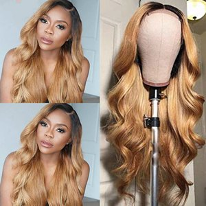 Wavy Lace Front Wig Natural, Honey Blonde, Ombre 1b 27 1b 99j, Brazilian Hair, Full,Golden fluffy big wave wig