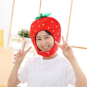 Novelty Fruit Strawberry Hat Funny Plush Hat Head Cover Cosplay Party Props For Halloween Christmas Accessories
