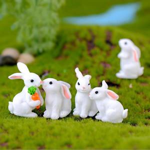 Osterhase Weiße Kaninchen-Puppe Ornament Geschenk Miniatur Cartoon Tier Fee Garten Dekoration Moss Micro Landschaft Zubehör WY1086