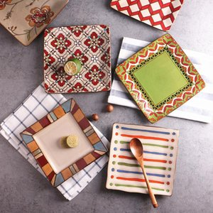 Creative Ceramic Plate Personality Hand -Painted Square Flat Dish Western -Style Salad Fruit Plate Pasta Plate Multicolor 17 Styles Optional