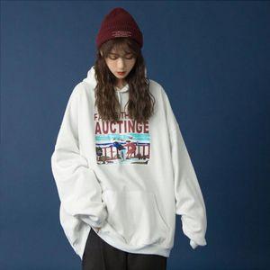 AQOIA Autumn Boyfriend style Letter Printing Loose Cotton Womens Hoodies thin Sweatshirt Pockets 2020 sweatshirt oversize