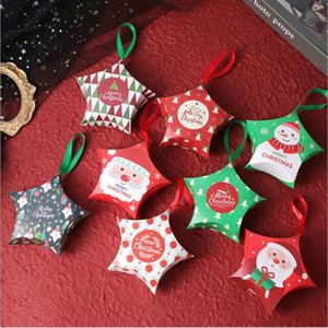 Рождественская звезда Подарочная коробка Мультфильм Санта-Клаус Упаковка для подарков Рождество Детский бумаги Candy Storage Box Star Подарочная упаковка FWC3199