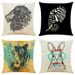 Art animal decoration painting Linen Cushion Covers Home Office Sofa Square Pillow Case Decorative Pillow Covers Without Insert (18*18Inch)