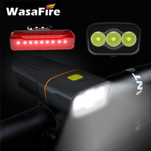 Fariture de bicicletas a prueba de agua de Wasafire 3 modos USB recargable 5200mAh Luz de bicicleta + trasera Taillight 15000lum 3 * L2 LED 201029
