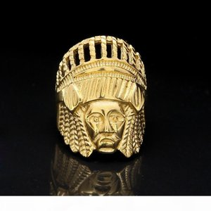 Mens Hip Hop Gold Rings Jewelry Retro Indian Chief Punk Ring Vintage Exaggerated Alloy Metal Ring