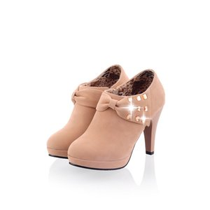 Hot Sale- factory price round nose bowknot platform high heel boot women shoe ankle boot