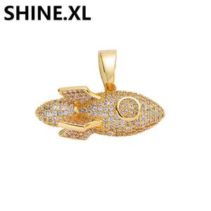 ICED OUT Micro pavimentada Zircon do navio de Rocket colar de pingente com corda cadeia do aço inoxidável Mens Hip Hop Jewelry