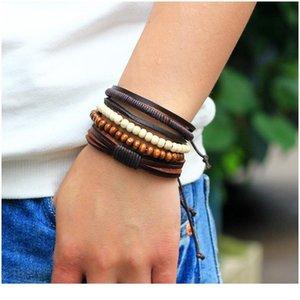 Новый стиль браслет орнамент многопартный комбинированный браслет ручной работы из кожи ручной работы деревянные бусины из бисера сплетенный браслет n Jlljzd