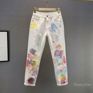 Женские джинсы напечатаны белые дыры для женщин 2021 весеннее лето высокая талия похудение обрезанные тощие разорванные джинсовые брюки брюки