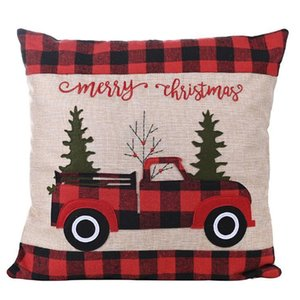 2020 Christmas Plaid Hold Pillow Case Cotton Cushion Cover Truck Stripe Fashion Sitting Room Sofa Decoration