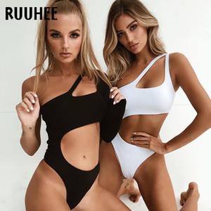 Ruuhee Bir Omuz Mayo Kadınlar Seksi Tek Parça Mayo Mayo Yüzme Suit Yastıklı Bodysuit Monokini Beachwear T200708