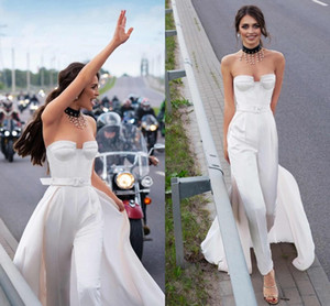 Modern Jumpsuit Wedding Dresses with Detachable Train Sweetheart Vestidos De Novia Pant Suit Long Party Women Formal Gowns