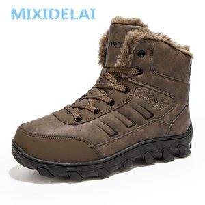 MIXIDELAI Yeni Erkekler Botlar Kış Açık Sneakers Erkek Kar Botları Sıcak Tutmak Peluş Çizmeler Peluş Ayak Bileği Kar İş Rahat Ayakkabılar 201128