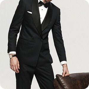 Double Breasted Wedding Tuxedos for Groom 2 Piece Slim fit Men Suits Set Shawl Lapel Prom Business Boyfriend Jacket with Pants
