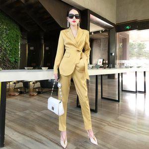 Streetwear Sexy Women Fashion Suit Loose Luxury Church Suits Yellow Female Tuxedo Formal Two Piece Veste Blazer Clothing Eg50xf