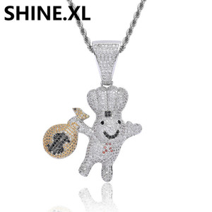 Micro Paved Cubic Zircon Moneybag Doll Pendant Necklace Brass Silver Plated Charm Cute Cartoon Bling Hip Hop Jewelry Gift