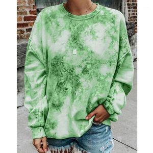 WEPBEL Round Neck Long Sleeves Tie-Dye Pullovers Women Sweatshrts Fashion Loose Long Sleeve Casual Tops1