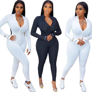 2020 womens Jumpsuits fashion Printed Letters Long Sleeve trousers Jumpsuits Yoga Suit Tight jogging suit bodysuit summer style