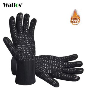 WALFOS Heat Resistant BBQ grill Gloves Premium Insulated Durable Fireproof For Cooking Baking Grilling Oven Mitts 201023