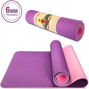 183x61cm Tpe двухцветного Non-Slip Мат для йоги Спортивный зал Главная Фитнес упражнения тренировки Tasteless окружающей среды Mat Хорошо Eesilience