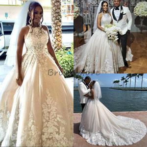 Princess African Lace Wedding Dresses Ball Gown Halter Sleeveless Sweep Train Country Wedding Dress 2021 Nigeria Bohemian Bridal Dress Cheap