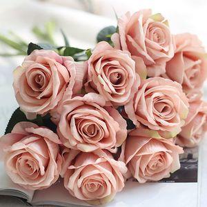 10pcs / lot décorations de mariage matériau réel Matériau artificiel Rose Bouquet Accueil Décoration Faux Soie Single Single Fleurs Floral