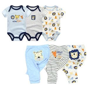6PCS lot Short Sleeve Baby Romper +pant Cartoon boys Clothes sets Summer girl baby jumpsuit Kids Baby Outfits Clothing 201022