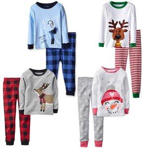 27styles Christmas Kids Pijamas Set Tacksuit Dos Piezas Trajes Santa Claus Elk Rayas Rayas Pijamas Trajes Sets Sets Kids Home Ropa HWC2560