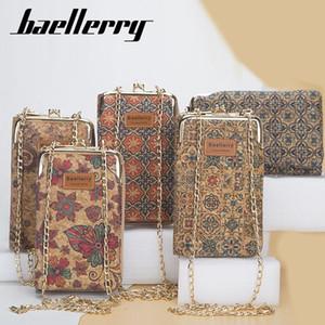 Women Wallet Mobile Phone Bag Female Korean Large-Capacity Floral Printed Messenger Bag Fashion Wood Grain Multi-Card Lady